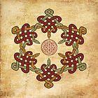 Gold Burgundy Celtic Circle by GrimalkinStudio