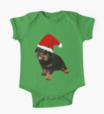 Cute Merry Christmas Puppy In Santa Hat One Piece - Short Sleeve