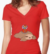 Gumball Machine Sloth Women's Fitted V-Neck T-Shirt