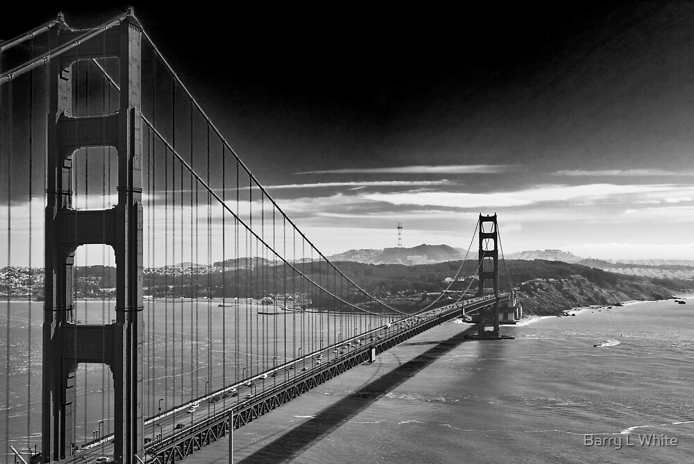 Quot Golden Gate Bridge Dark Sky Black And White Quot By Barry