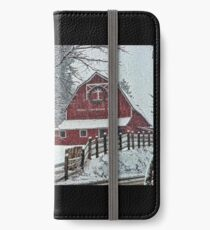 Snowing at the Red Barn iPhone Wallet/Case/Skin
