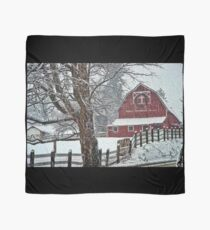 Snowing at the Red Barn Scarf