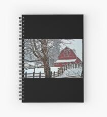 Snowing at the Red Barn Spiral Notebook