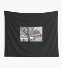 Snowing at the Red Barn Wall Tapestry