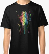 Watercolour and Pen Rainbow Anatomical Heart Classic T-Shirt