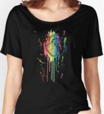 Aquarell und Pen Rainbow anatomisches Herz Loose Fit T-Shirt