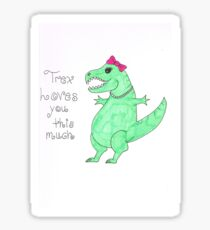 Lady T-Rex Loves you Sticker