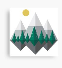 Sunrise Over Mountains and Forest, Flat Nature Landscape Canvas Print