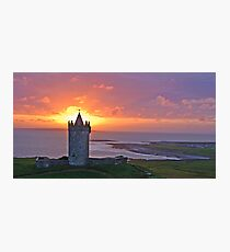 Sunset Over Doolin Castle, County Clare, Ireland Photographic Print