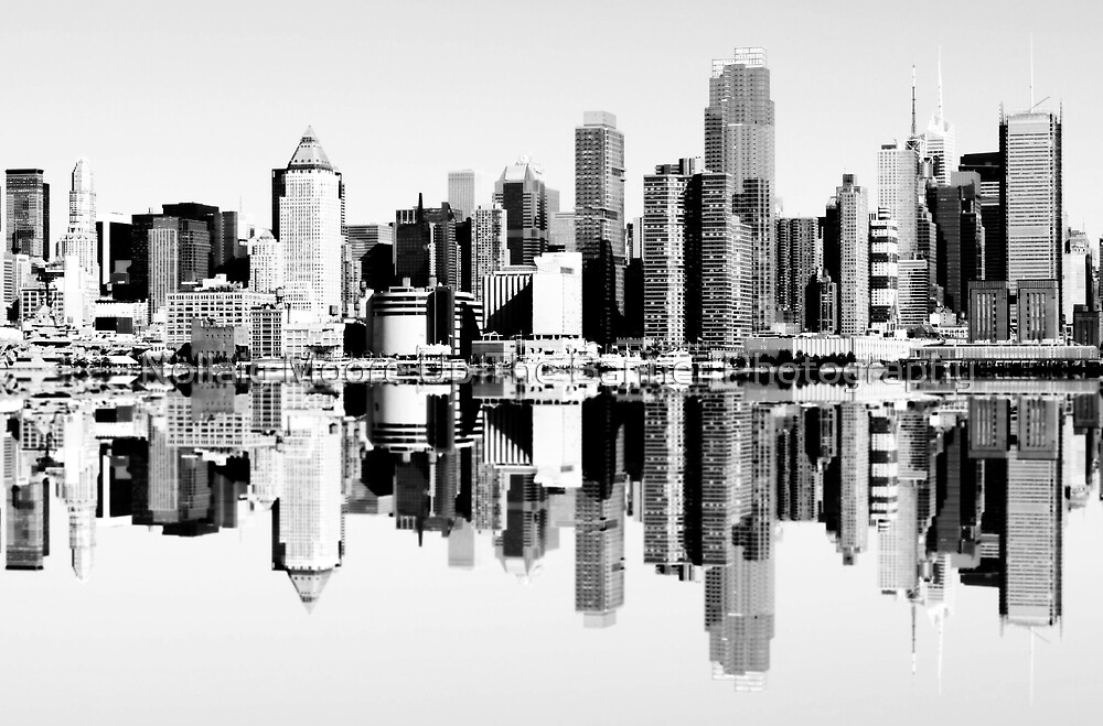 NYC Black and White Skyline Cityscape by Noel Moore Up The