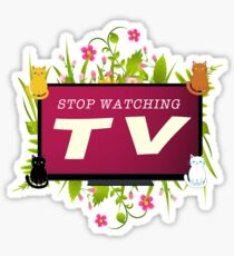 Stop Watching TV (Flat Earth Designs) Sticker