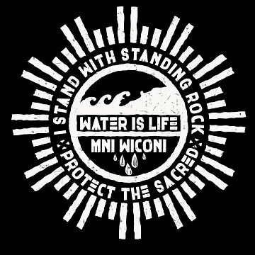 Water is Life - No DAPL Protest Mandala Badge  by nvdesign