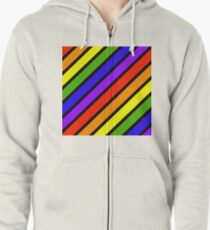 ROYGBIV.... Diagonal stripe Zipped Hoodie
