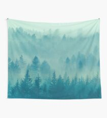 Fog Forest - Blue Green Washington State Woods Foggy Trees  Wall Tapestry