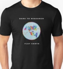 Dare to Research Flat Earth Colorful Map Unisex T-Shirt