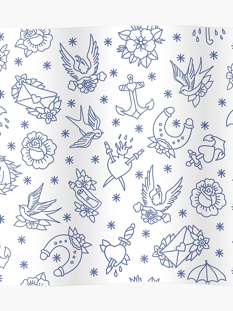ca86490f0 doodle pattern. traditional tattoo flash illustration