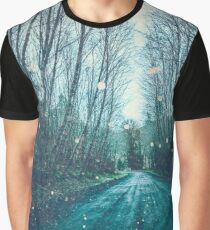 Forest Trees Nature Path - Vintage Magical Fairy Light Trail Graphic T-Shirt