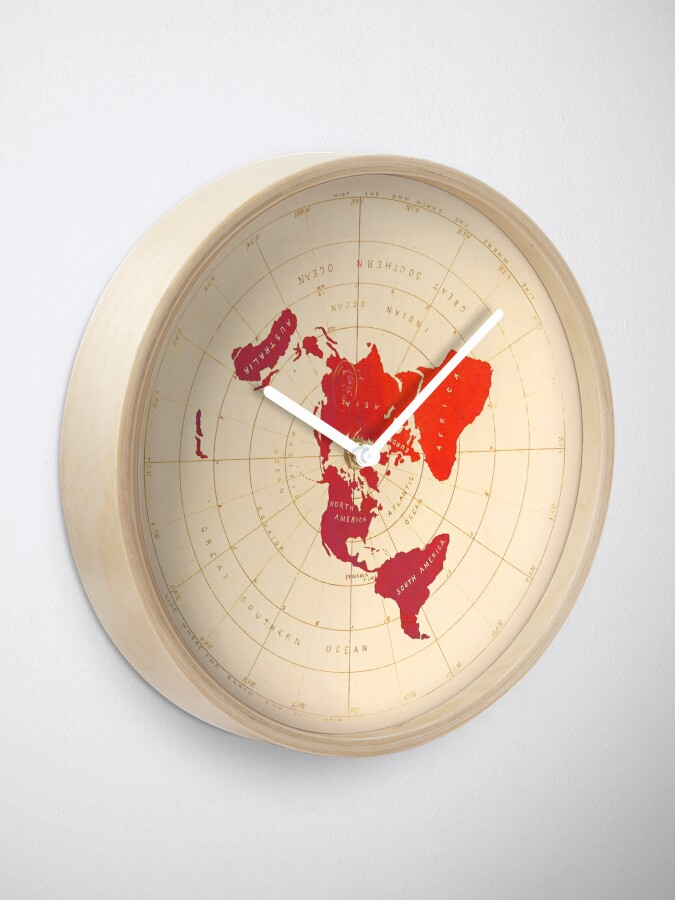 Alternate view of Flat Earth Map - Azimuthal Equidistant Projection (Red Design) Clock