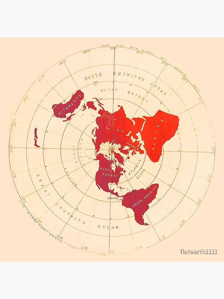 Flat Earth Map - Azimuthal Equidistant Projection (Red Design) by flatearth1111