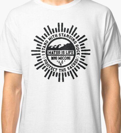 Water is Life - No DAPL Protest Mandala Badge  Classic T-Shirt