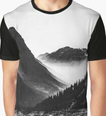 Mountains and Forest - Black and White Glacier National Park Graphic T-Shirt