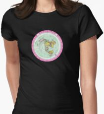 Flat Earth Map - (Azimuthal Equidistant Projection Map) - Pink Womens Fitted T-Shirt
