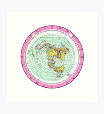 Flat Earth Map - (Azimuthal Equidistant Projection Map) - Pink Art Print