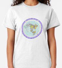 Camiseta clásica Mapa de Tierra plana - (Mapa de proyección equidistante azimutal) - Púrpura