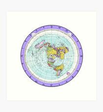 Flat Earth Map - (Azimuthal Equidistant Projection Map) - Purple Art Print