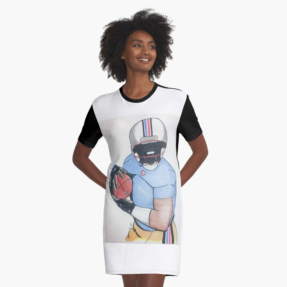 Football Player Graphic T-Shirt Dress Front