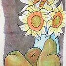 Sunflower and pears by Loretta Nash