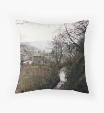 Castleton - looking back from Peak Cavern Throw Pillow