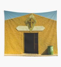 Travel Summer Church Sky Vintage in Mexico - Yellow - Cross Wall Tapestry