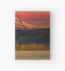 Mountain Mount Hood Oregon at Sunset Pink Sky Travel Columbia River Nature Water Photograph Wall Hardcover Journal