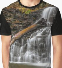 Nature Waterfall Autumn Mountains Ricketts Glen State Park Pennsylvania Waterfall Graphic T-Shirt