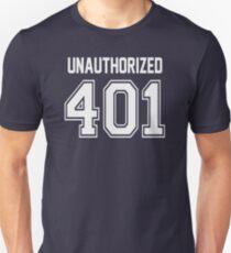 Error 401 - Unauthorized - White Letters Unisex T-Shirt