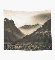 Mountains and Forest - Glacier National Park Vintage Sepia Wall Tapestry