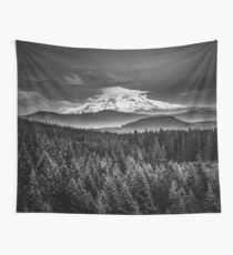 Mountains and Forest - Black and White Mt Hood with Forest Wall Tapestry