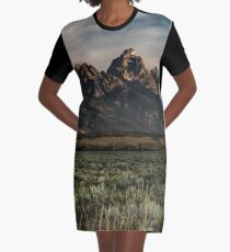 Travel Mountain Nature Trees Tapestry - Grand Tetons - Jackson Hole Wyoming Graphic T-Shirt Dress