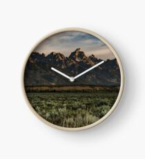 Travel Mountain Nature Trees Tapestry - Grand Tetons - Jackson Hole Wyoming Clock