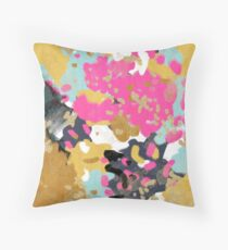 Laurel - Abstract painting with gold, navy, turquoise, pink, and blush Throw Pillow