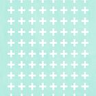 Plus Sign - Simple plus sign swiss cross pattern in white and mint modern colors by charlottewinter