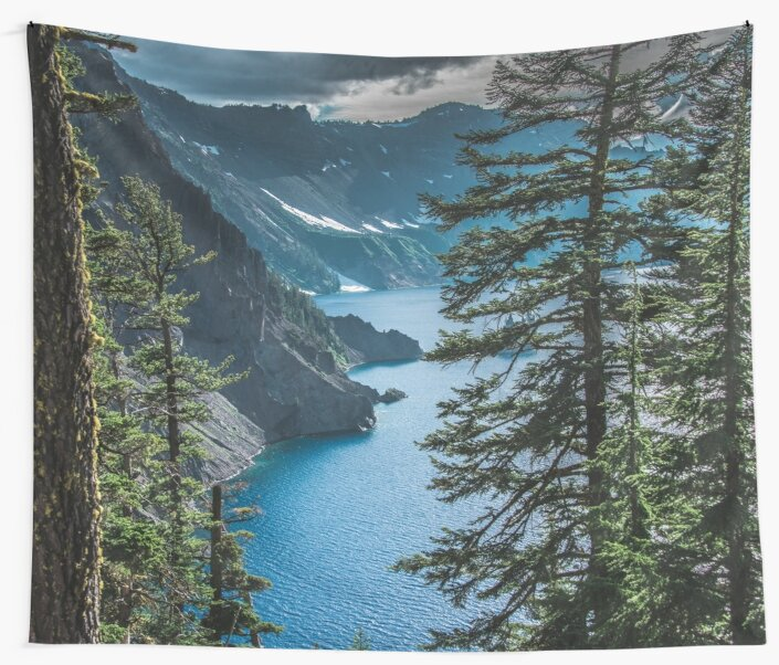 Mountains Forest Lake Water - Blue Crater Lake Oregon in Summer by artcascadia