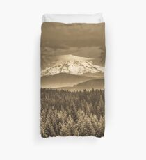 Mountains and Forest - Mt. Hood Sepia Vintage with Trees and Clouds Duvet Cover
