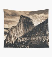 Mountains and Forest - Half Dome in Yosemite National Park Black and White Wall Tapestry