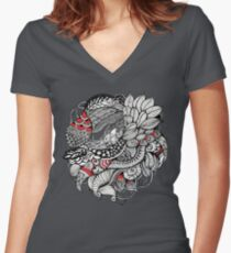 hand drawn fine line black and red fantasy   Women's Fitted V-Neck T-Shirt