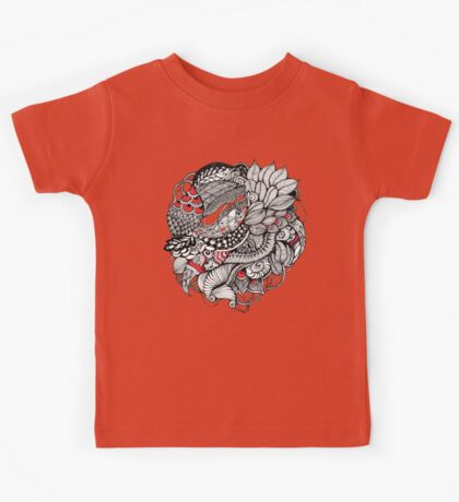 hand drawn fine line black and red fantasy   Kids Clothes