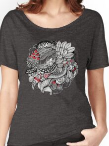 hand drawn fine line black and red fantasy   Women's Relaxed Fit T-Shirt