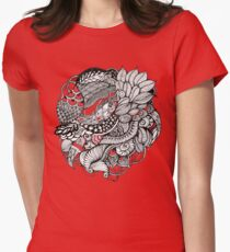 hand drawn fine line black and red fantasy   Womens Fitted T-Shirt
