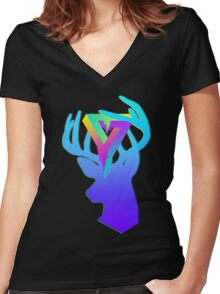 Acrylic Deer - Ode to Neon Women's Fitted V-Neck T-Shirt